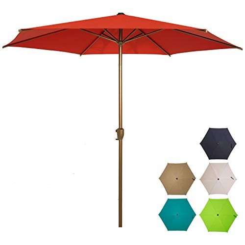 Ogrmar 7.5 FT Patio Umbrella Outdoor Table Umbrella with Push Button Tilt and Crankfor Terrace, Backyard, Garden, Courtyard, Swimming Pool, Lawn (Dark Red)