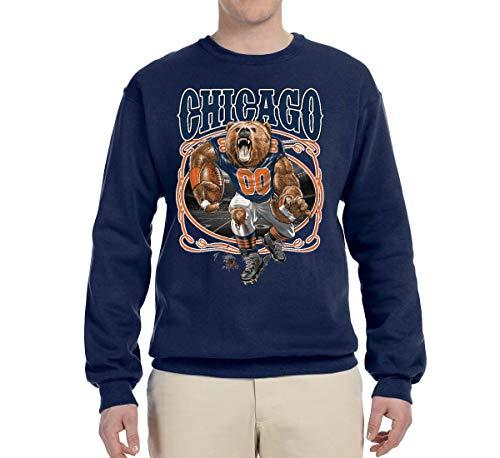 Chicago Fan | CHI Fantasy Football | Mens Sports Crewneck Graphic Sweatshirt, Navy, Small