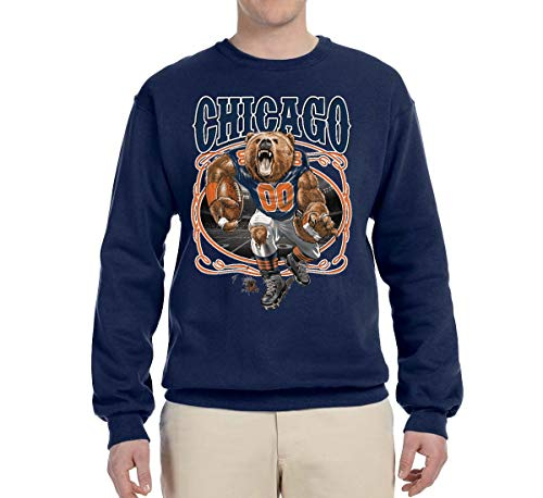 Chicago Fan | CHI Fantasy Football | Mens Sports Crewneck Graphic Sweatshirt, Navy, Small