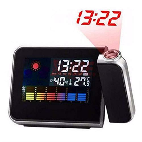 ZYZYY Projector Klok LCD Digitale Alarm Klok Met Weerstation Elektronische Tafelhorloge Nixie Bureau Alarm Klok Met Tijd Projectie