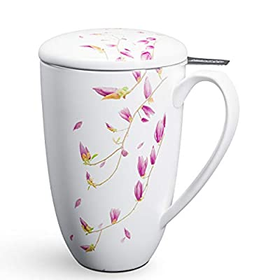 immaculife Tea Mug with Infuser and Lid Ceramic Tea Cup with Lid - Teaware with Filter 15oz, White Flower