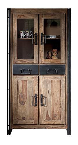 Sit Möbel 9204-01 Vitrine Panama Shesham Natur mit schwerem Altmetall und Gebrauchsspuren, 90 x 40 x 180 cm, 4 Türen, 2 Schubladen