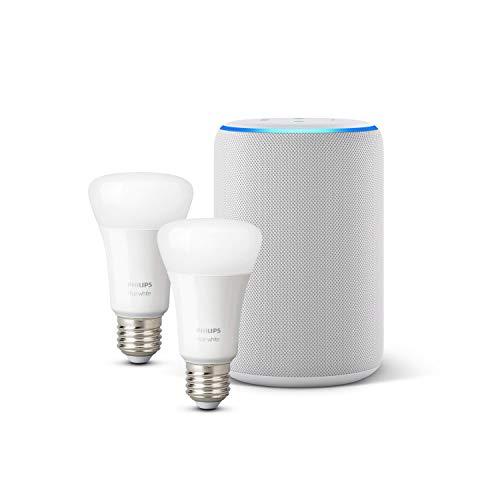 Amazon Echo (3ª generazione), Tessuto grigio chiaro + Lampadine intelligenti a LED Philips Hue White, confezione da 2 lampadine, compatibili con Bluetooth e Zigbee (non è necessario un hub)