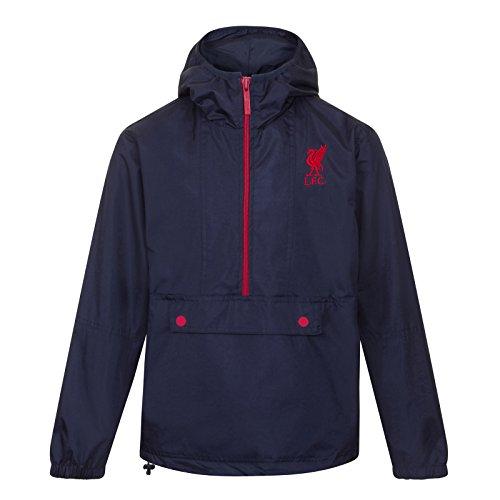 Liverpool FC - Chaqueta cortavientos oficial - Para hombre - Impermeable - Azul marino media cremallera - XL