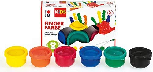 Marabu - Kids Fingerfarbe Kindergarten/Schul-Set mit 5 x 6 leuchtenden Farben a 35 ml, parabenfrei, vegan, laktosefrei, glutenfrei, geeignet zum Malen in Kindergarten, Schule, Therapie und zu Hause