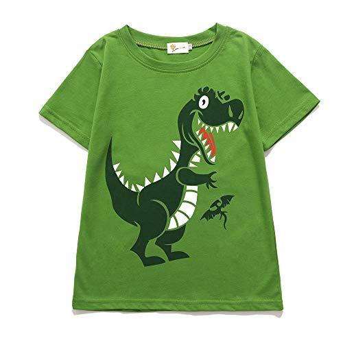 EULLA Kinder Jungen T-Shirt Baumwolle Cartoon Dinosaurier Kurzarm Shirt 92 98 104 110 116
