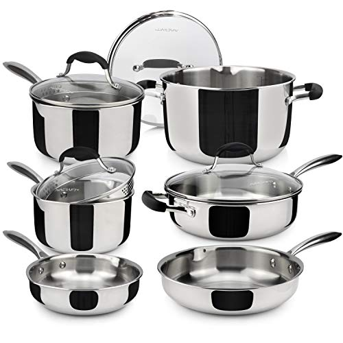 AVACRAFT 18 10 Stainless Steel Premium Multiclad Pots and Pans Set, Stainless Steel Cookware Set, Tri-Ply Body Stainless Steel Pan Set, 10-Piece Set
