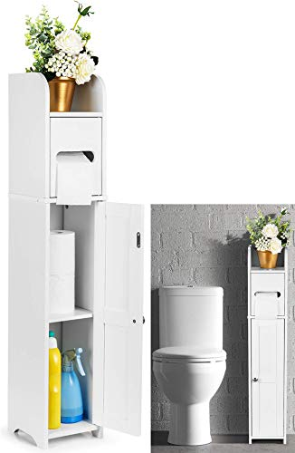 Sturdy Tall Bathroom Toilet Roll Cabinet - White | Removable Shelves for More Storage | Moisture Resistant Tall Corner Wall Organizer | Free Standing Shower Space Saver Unit Cupboards