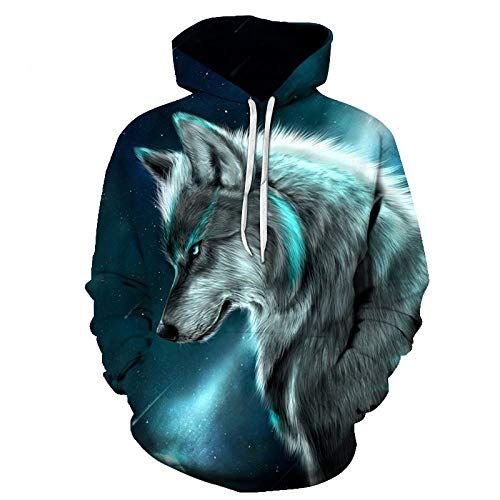 ZHRDRJB Sudaderas con Capucha 3D Impresión,Unisex Pullover 3D Print Animal Wolf Meteor Hoodie Sudadera Pareja...