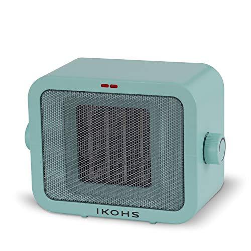 IKOHS WARMIC - Calefactor Cerámico de Habitación, Calefactor Portátil, 1500W, Termostato Regulable, 2 Modos de Potencia, Calefactor de Aire Caliente PTC, Protección del Sobrecalentamiento (Verde)