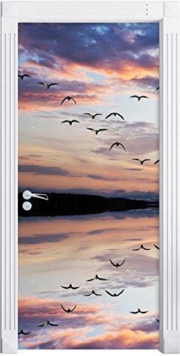 Stil.Zeit Möbel Albero Solo riflessa nell'Acqua Come Una Carta da Parati Porta, Formato: 200x90cm, Telaio della Porta, Adesivi Porta, Porta Decorazione, autoadesivi del Portello