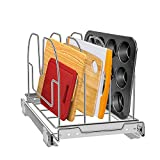 Pull Out Organizer for Cookie Sheet, Cutting Board, Bakeware,Tray, Tksrn Adjustable Cabinet Organizers and Storage for Kitchen Pantry Cabinets, 9.25'W x 16.9'D x 10'H, Chrome