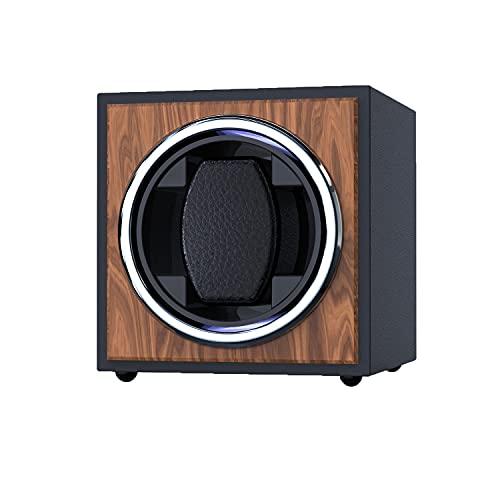 自動巻き機、 シングルケース時計ワインダー、 マブチモーター 設計 PU皮質、 クラシック、レトロな木の表面、 2つの異なる巻線モード、 黒の高弾性メモリーフォームテーブル枕 時計ケース