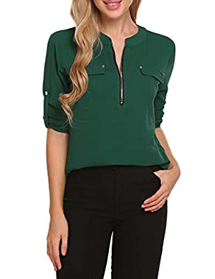 ANGVNS Women Chiffon Blouse V Neck Office Work Blouse for Women Dress Shirts Winter Tops for Autumn