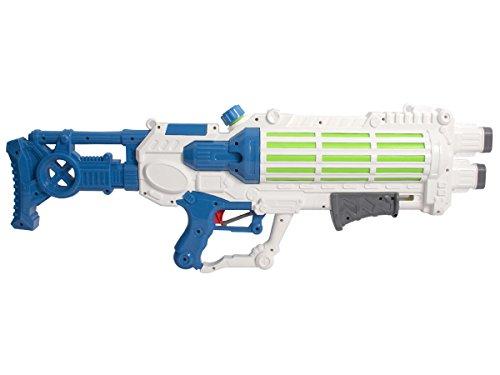 Alsino XXL Wasserpistole mit großer Reichweite Wasserspritzpistole 75 cm 2 Farbig Pumpmechanismus Sommer Strand, Variante wählen:9111 blau weiß