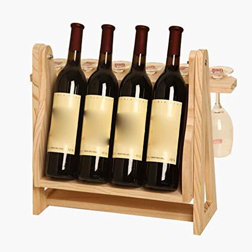 Estante para botellas de vino copas vino encimera Madera de Pino estante del vino duradero, estilo clásico de Vino Bastidores for botellas, perfecto for Bar, Bodega, Sótano, Gabinete, despensa, etc. S