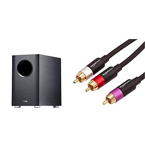 mächtig Canton 03724 AS 2020SC Aktiver Subwoofer Schwarz und Amazon Basics PBH-20214 – Cinch-Audiokabel, 1x…