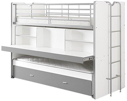Vipack Bonny Hochbett, Spielbett, Funktionsbett, Kinderbett, Holzwerkstoff, Farbe 09 weiß Silbergrau, 222 x 161 x 102 cm
