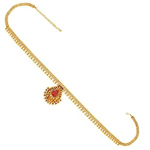 ACCESSHER Traditional Brass Golden and Pink Kamarband for Women