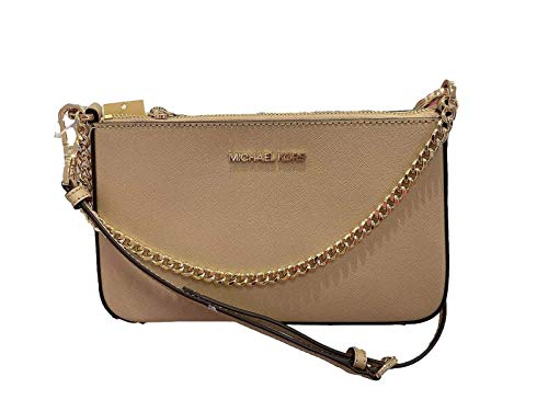 """Saffiano Leather. Approximately dimensions: 9'' L x 5.5'' H x 2.5'' W Interior: fabric lined with 3 card slots and 1 slip pocket Removable and adjustable crossbody Strap 20""""-23"""" Zip Closure"""