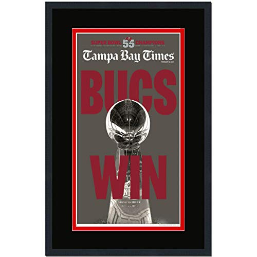 Framed Tampa Bay Times Buccaneers Super Bowl LV 55 Champions 17x27 Football Newspaper Cover Photo Professionally Matted