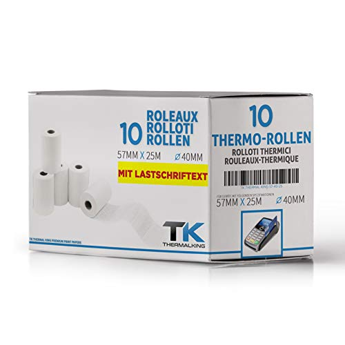 10 rotoli di carta termica EC Cash con testo di carico B: 57 mm – DM: 40 mm – Nucleo DM: 12 mm – L: 25 m per Ingenico ict220 ict250 iwl250 e tutte le altre stampanti termiche per cash