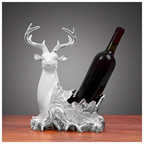 WYKDL Estante de metal para vino con resina Ciervo Tenedor de botella de vino Estatua Ornamento Regalo Moderno Minimalista Decoración creativa Estante de botella de vino Estante de exhibición de gabin