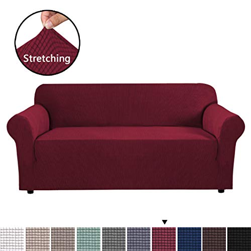 BellaHills Jacquard Sofa Abdeckung Anti Slip Stretch Hussen Jacquard Sofa Abdeckung Anti-Slip Polyester Spandex Stoff Sofa Protector (DREI Sitze, Wein)