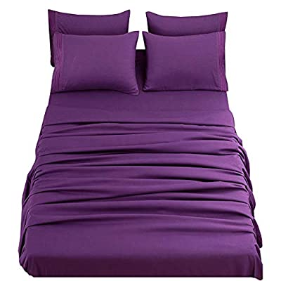 SONORO KATE Bed Sheets Set Sheets Microfiber Super Soft 1800 Thread Count Egyptian Sheets 16-Inch Deep Pocket Wrinkle Fade and Hypoallergenic - 6 Piece (Purple, King)