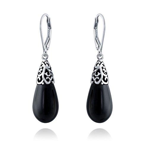 Bling Jewelry Onyx Gefärbt Schwarz Teardrop Sterling Silber Tropfen filigrane Ohrringe