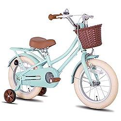 cycmoto 子供用自転車 2 3 4 5 6歳 男の子 女の子 12インチ 14インチ 16インチ 幼児用自転車 可愛い お誕生日プレゼント プリン カゴ ベル 補助輪付き おしゃれ ガール ボーイズ ピンク グリーン 夢の緑