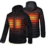 CONQUECO Men's Heated Jacket Light Weight Electric Jacket for Waterproof and Windproof in Winter (M) Black