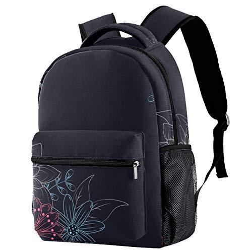 Mochila colorida de tiza de dibujo de flores, mochila de viaje casual para mujeres, adolescentes y niñas