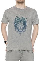 Floral león Hombre Camiseta Cuello Redondo Gris Manga Corta Todos Los Tamaños