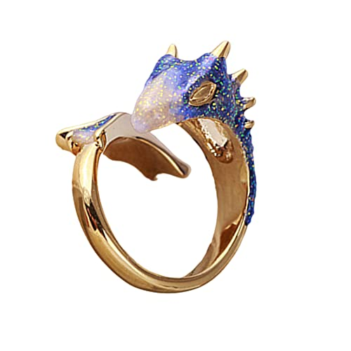Dragon Ring For Women Adjustable Gold Topaz Dragon Rings Lucky Finger Pet Unique Devil Wings Open Cute Dragon Ring Free Size Animal Rings (Blue)