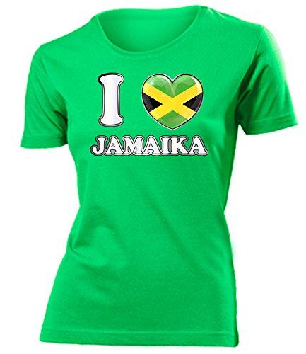 I Love Jamaika 5648 Fussball Fanshirt Fan Shirt Tshirt Fanartikel Artikel Frauen Damen T-Shirts Grün M