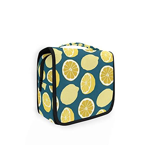 Bolsa de aseo de viaje para colgar, mezclada, cítricos, color azul marino, kit de maquillaje y organizador de cosméticos para hombres y mujeres
