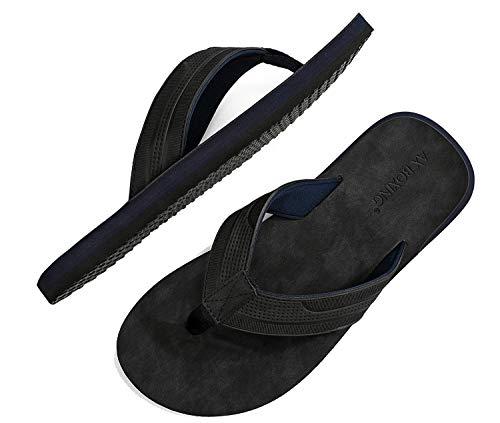 ARRIGO BELLO Chanclas Hombre Flip Flops Cuero Sandalias Verano Antideslizante Piscina Playa Interior...