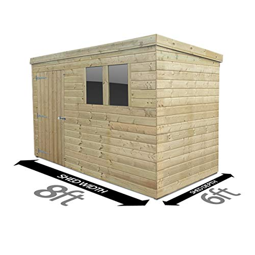 Total Sheds 8ft (2.4m) x 6ft (1.8m) Shed Pent Shed Garden Shed Timber Shed
