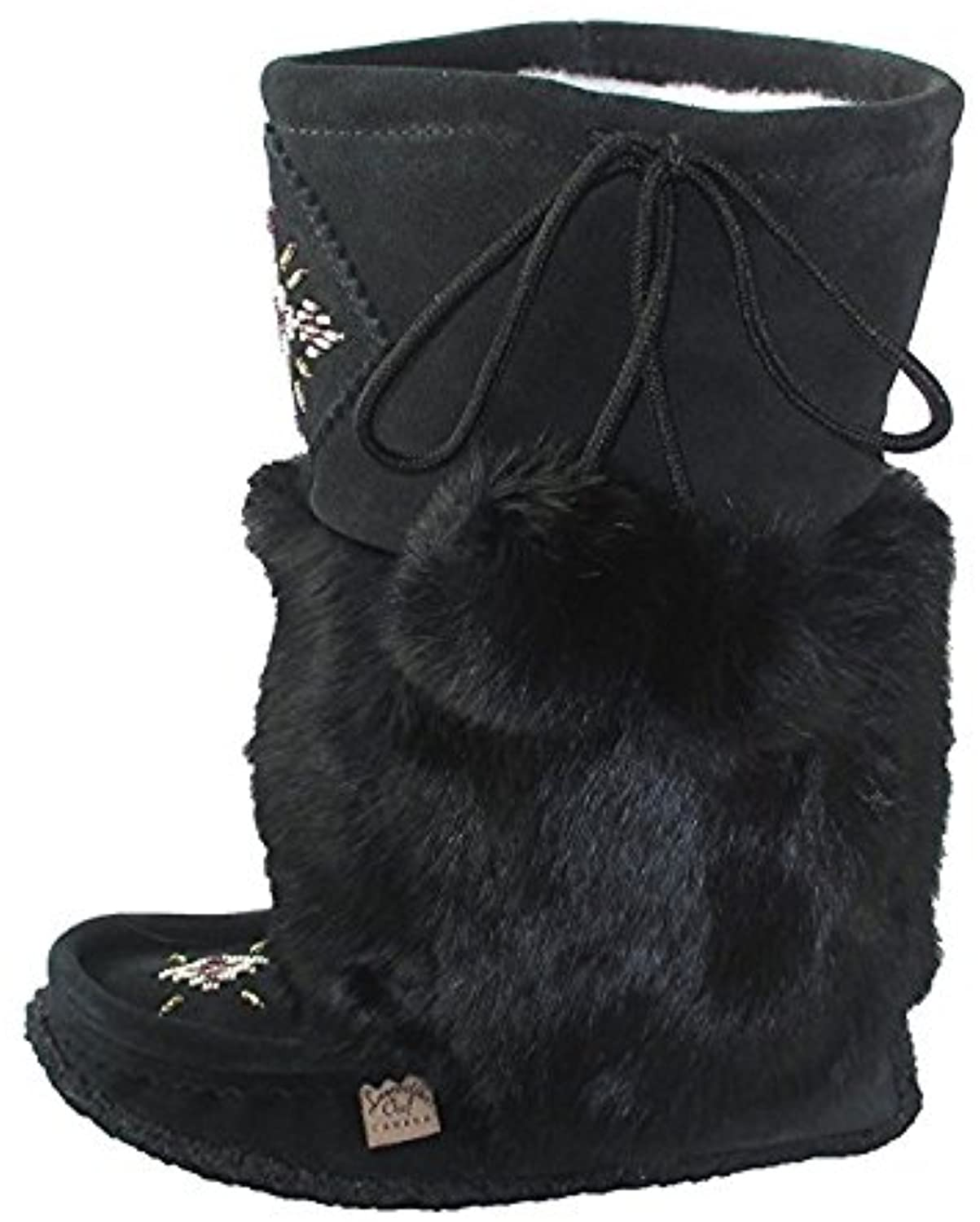 Women's Imperiale Moccasin Boots Beaded with Fur 13  Mukluks (5, Black)