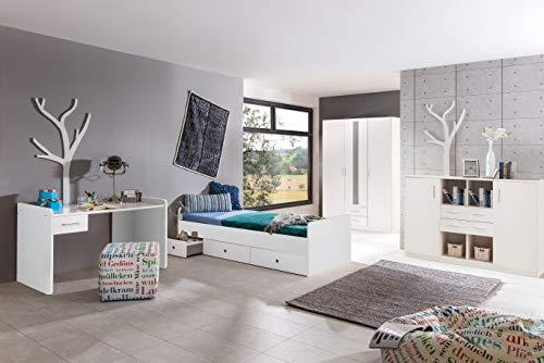 möbel-direkt Jugendzimmer Lenny in Weiß 4 teiliges Superset mit 3türigem Kleiderschrank, 90er Bett inklusive ausziehbarem Nachttisch und Schubkästen, mit Sideboard und Schreibtisch