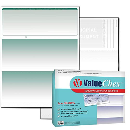 VersaCheck ValueChex Blank Check Paper - Form #1000 Business Voucher Check on Top - Green - Graduated - 100 Sheets/100 Checks