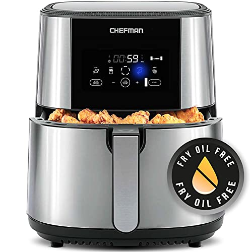Chefman TurboFry Air Fryer, XL 8-Qt Capacity for Family Cooking, BPA-Free w/Dishwasher Safe Basket, Nonstick Square Stainless Steel Airfryer w/One-Touch Presets, Use Less Oil for Healthy Rapid Frying