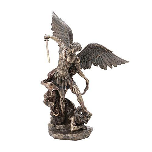 CAPRILO. Figura Decorativa Mitológica de Resina Bronce Arcangel San Miguel sobre Demonio. Adornos y Esculturas. Decoración Hogar. Regalos Originales. 40 x 25 x 52 cm.