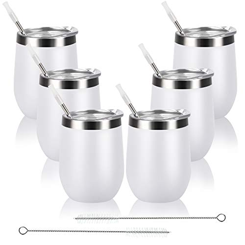 6 Pack Stainless Steel Wine Tumbler with Lid and Straw, 12 Oz Double Wall Vacuum Insulated Wine Tumbler, Set of 6 Stemless Wine Glass for Wine, Coffee, Cocktail, Ice Cream, White