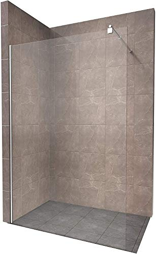 Duschabtrennung Duschwand Walk In Dusche 10mm STARK aus DURCHSICHTIGEM ESG Sicherheitsglas mit Edelstahl Wandprofilen #740 (100 x 200cm, Klares Glas)