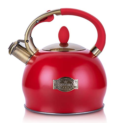 SUSTEAS Stove Top Whistling Tea Kettle-Surgical Stainless Steel Teakettle Teapot with Cool Toch Ergonomic Handle,1 Free Silicone Pinch Mitt Included,2.64 Quart(RED)