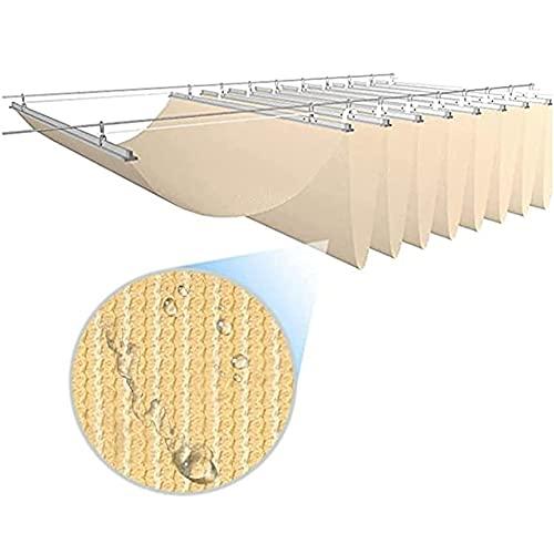 YJFENG Onda Vela De Sombra Solar, Cubierta De Toldo De Repuesto, Tela De HDPE Retráctil Protector Solar Permeable para Exteriores Terraza Cafetería Kiosko (Color : Beige, Size : 0.8x3m)