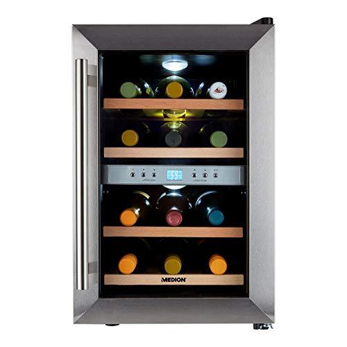 MEDION Weintemperierschrank 34 Liter, Weinkühlschrank für 12 Flaschen, 2 Zonen, freistehend, leise, Holz-Einlegeböden, Edelstahl, MD 37450