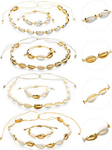 meekoo 8 Unidades de Concha Natural Collares Cowrie Shell Gargantilla Pulseras Ajustable Boho Hawaii Sea Beach Choker Set para Mujeres Niñas